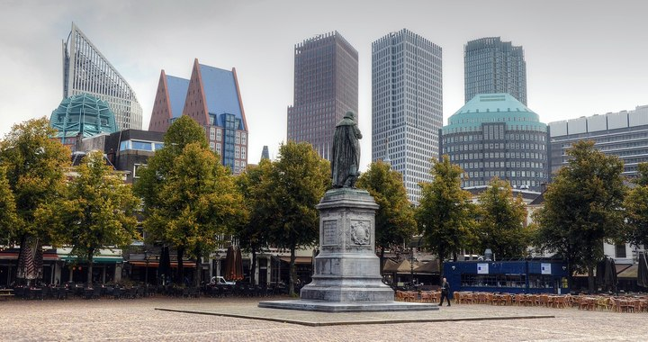 Normal 1920px cityscape of the hague  viewed from het plein  the square