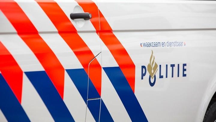 Normal zijkant politieauto met logo