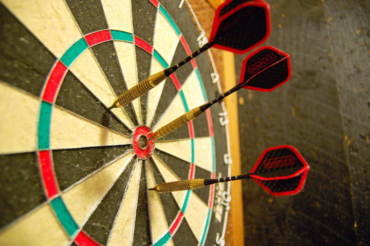 Normal darts in a dartboard
