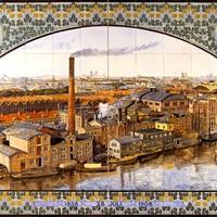 Thumbnail tableau van keramische tegels met uitzicht op de amsterdamse bierbrouwerij de gekroonde valk  door plateelbakkerij de distel 1908  collectie nederlands tegelmuseum  otterlo