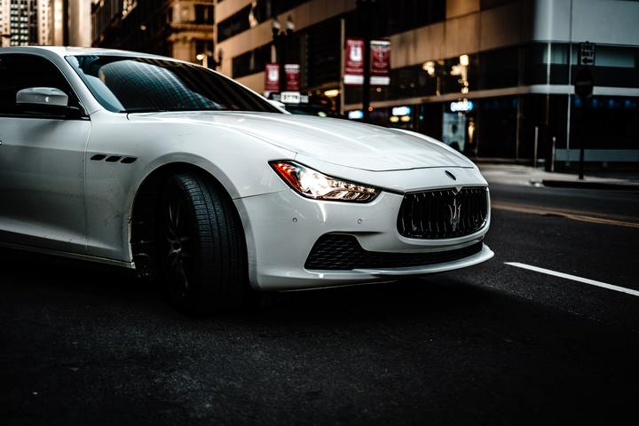 Normal photography of white maserati 1236712