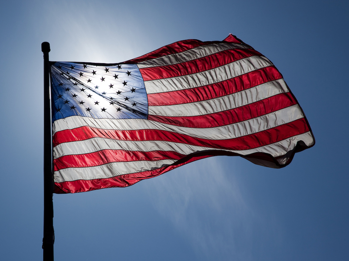 Normal us flag backlit